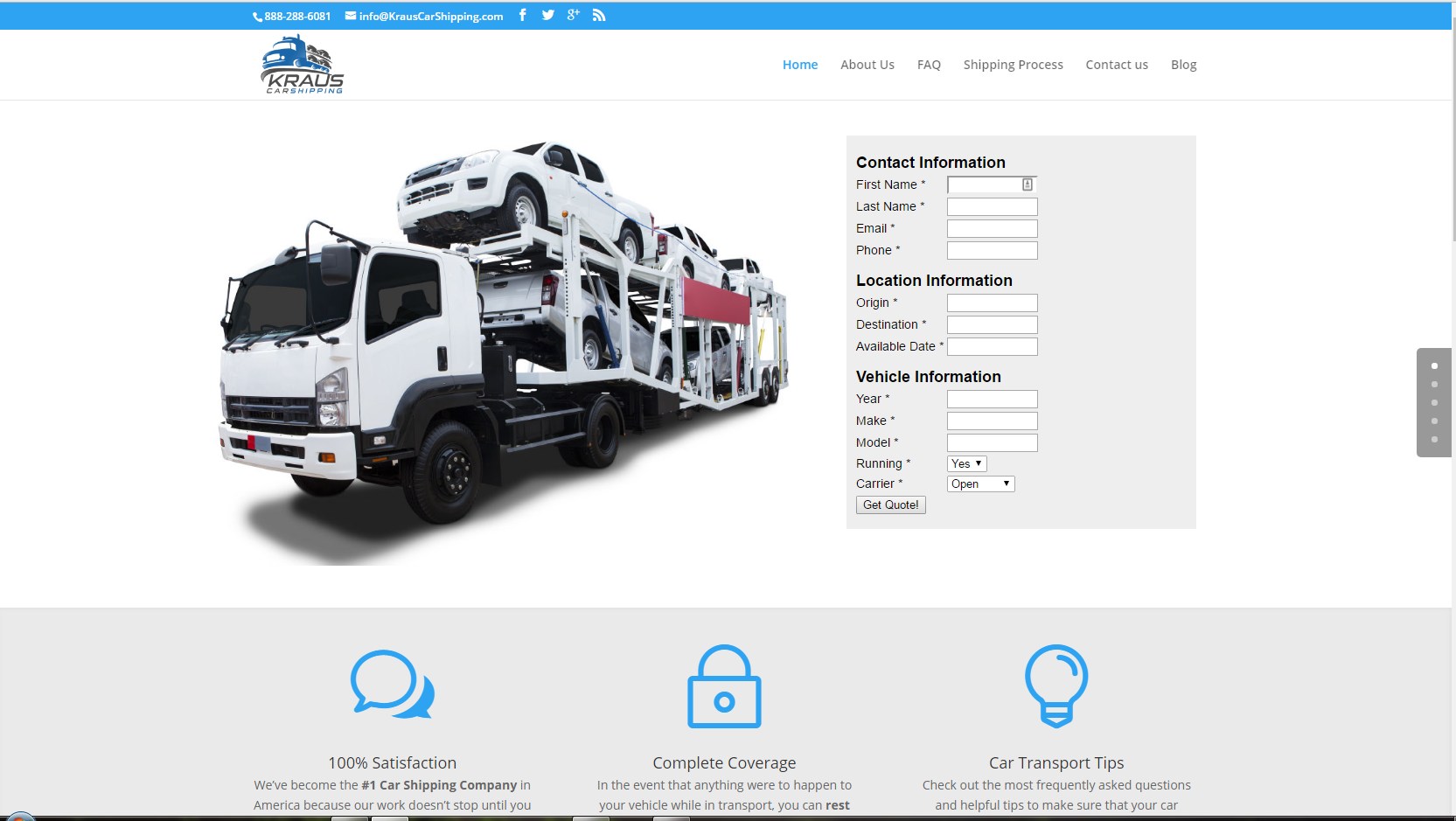 Kraus Car Shipping Web Design