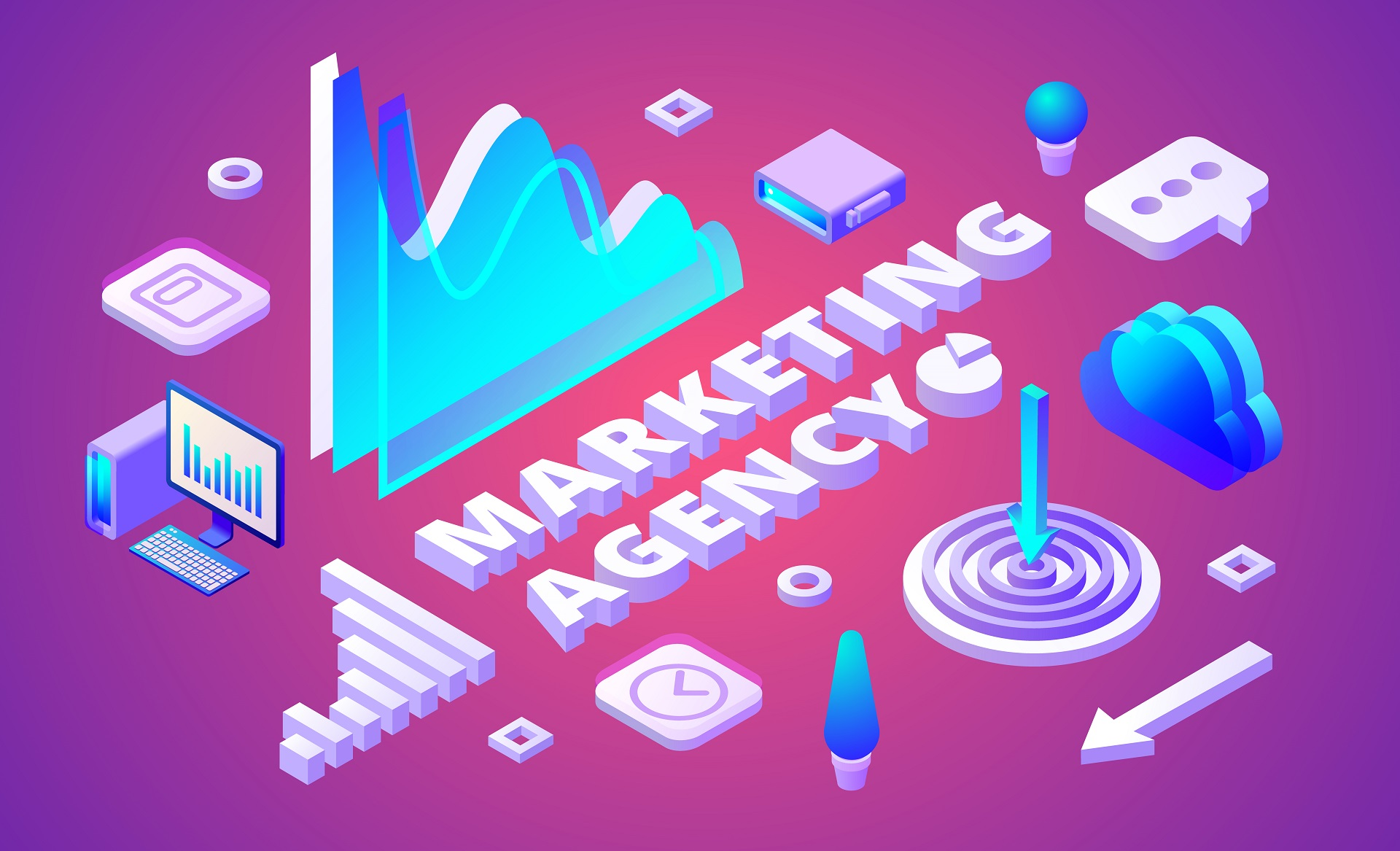 Marketing agency isometric